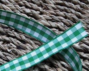 A plaid green 10mm♥ Ribbon ♥1M
