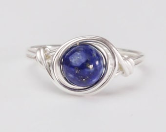 Lapis Lazuli Ring, 925 Sterling Silver Ring, September Birthstone, Birthstone Ring, Lapis Lazuli Jewelery, Any Size, Birthday Gift