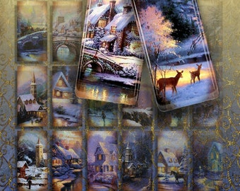 WINTER - Digital Collage Sheet 1x2 inch Printable Download images for domino Pendants, Magnets, Bezel setting