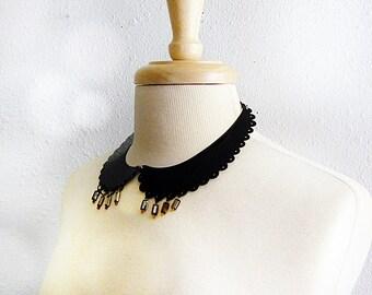 Collar Necklace, Peter Pan Collar, Metal Collar Necklace, Black Metal Necklace, Metal Collar, Peter Pan Necklace, Modern Vintage, Handmade