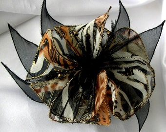 Large barrette flower fabric, organza, feathers and pearls 008
