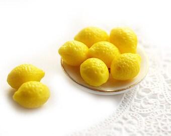 Yellow Lemon beads Glass fruit beads 10x14mm lemons, bright yellow top drilled glass lemon - 14x10mm - 0777