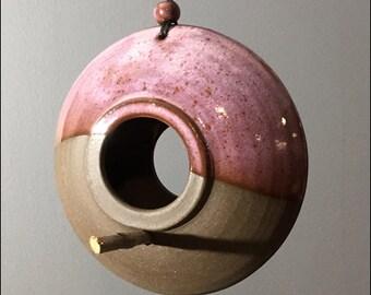 stoneware BIRD FEEDER   iron-rich near-black clay, lavender spec glazed glaze, stick stand, beaded cord, rustic natural look