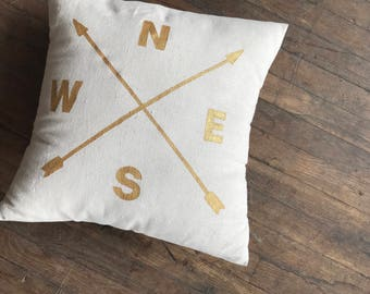 Compass Pillow Cover