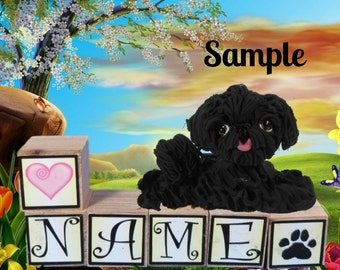 black Shih Tzu dog PERSONALIZED with your dog's name on blocks by Sally's Bits of Clay