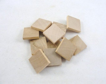 "wooden square one inch 1"", one inch square tile 3/16"" thick set of 12"
