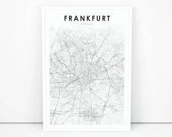 Frankfurt map Etsy