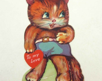 Vintage Children's Novelty Valentine Greeting Card with Cute Orange Cat in Shorts