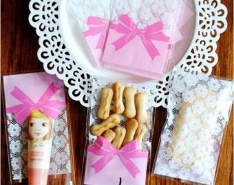 10 beautiful bags lace Pink Ribbon 10 x 7 cm + 3 cm flap gift bag