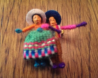 Tiny Little Hand Made Doll Pair can be worn as a pin