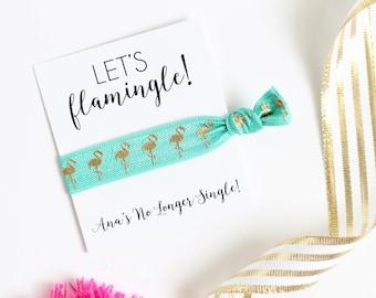 Let's Flamingle - No Longer Single - Bachelorette Party - Bachelorette Hair Ties - Bachelorette Party Favor  - Flamingo Hair Ties