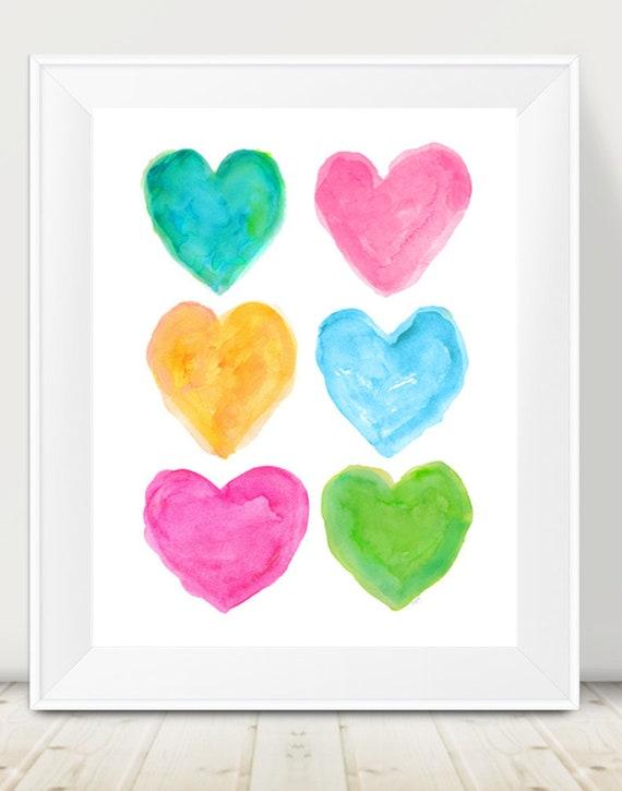 Preppy Wall Decor, 11x14 Watercolor Hearts Art print