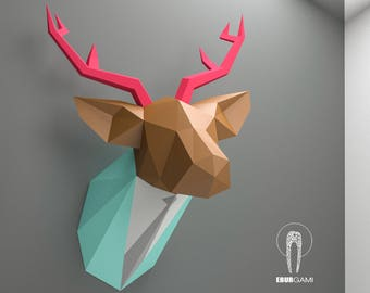 Papercraft Deer Head, Paper Trophy, Paper Animal Head, Paper Craft DIY Deer Trophy, Deer In Suite, DIY template, Eburgami, Make Your Own