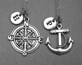 Best friend necklace, compass necklace, anchor necklace, nautical jewelry, compass anchor charm, best friend gift, friendship jewelry
