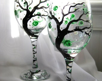hand painted wine glasses, Wintergreen Frost, set of 2