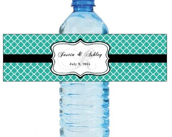 Blue Monogram Water Bottle Labels Great for Engagement Bridal Shower Wedding Party 2 sizes available