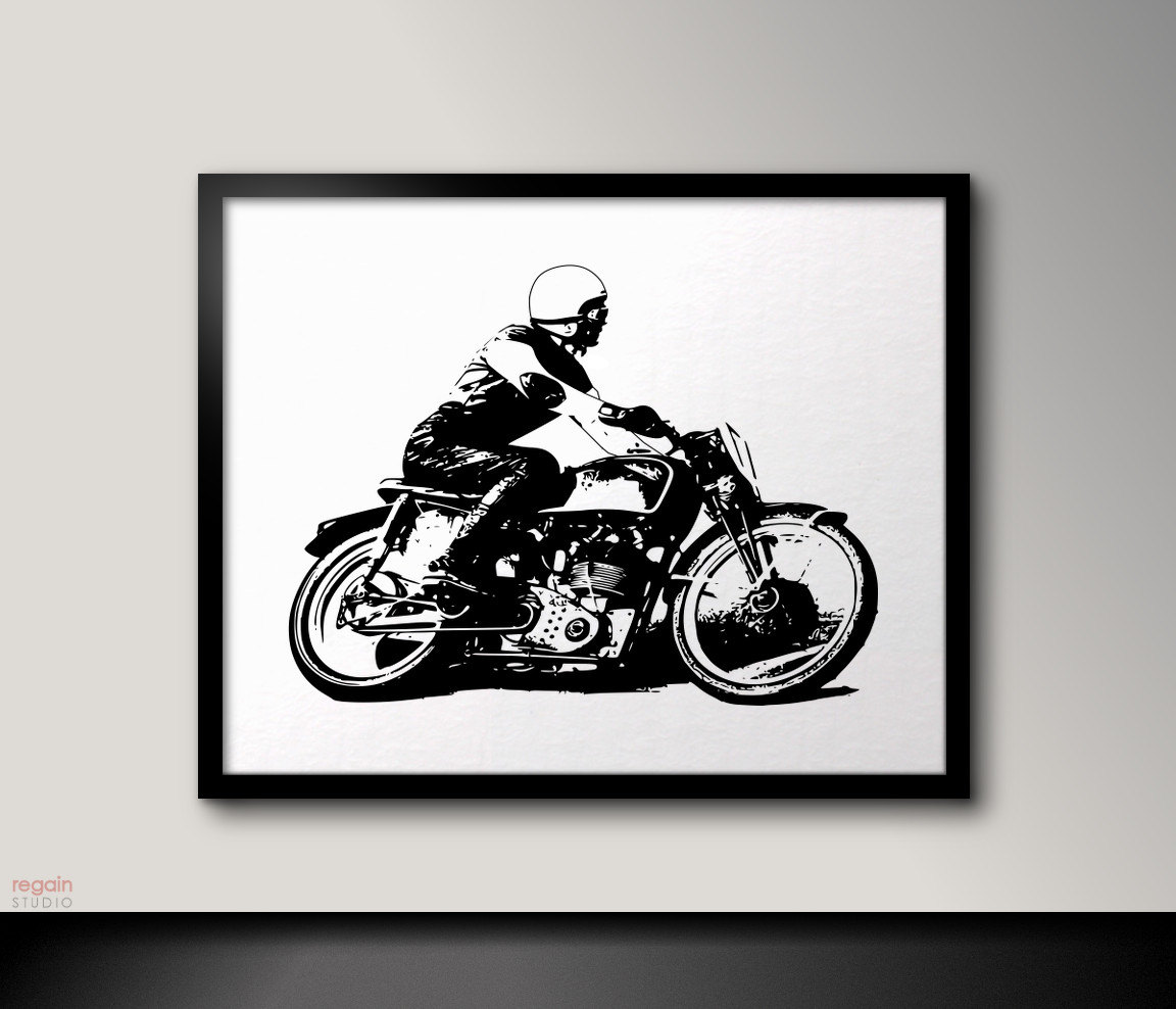 Vintage Cafe racer art Motorcycle art Black and white