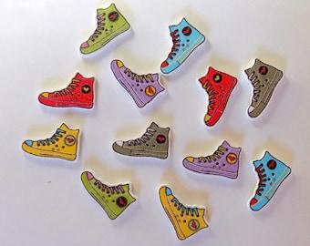 12 Running Shoe Buttons - #SB-00173