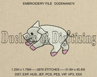 Pig Embroidery Design, Pig Embroidery File, Piglet Embroidery Design, Piglet Embroidery File, DODEMAN074