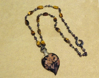Tigers Eye and Leaf Necklace