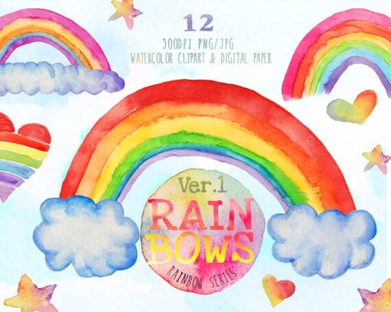 Free Photo Watercolors Rainbow Colors Lilac: Watercolor Rainbow Clipart Rainbow Digital Papers Watercolor