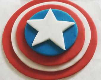 Captain America Cake toppers/ Captain America Shield/ Cake toppers/ Cupcake Toppers/Avengers