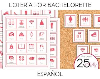 Loteria para Despedida de Soltera (like Bingo) - PRINTABLE (Spanish)