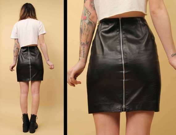 Waisted Detail POMODORO Lambskin Fitted LEATHER Fetish Sexy 80s 90s Designer Vtg High Couture Zipper Skirt Mini Med Sm HwPU8q