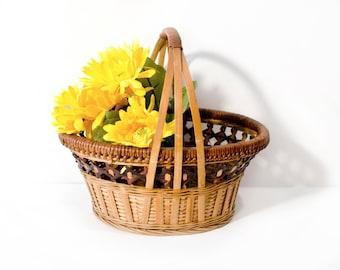 Vintage Woven Basket with Handle by BigMuddyVintageShop
