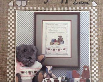 I Love Bears Sampler/Counted Cross Stitch Patterns by Lagniappe/1986/Teddy Bear Sampler/Vintage Pattern