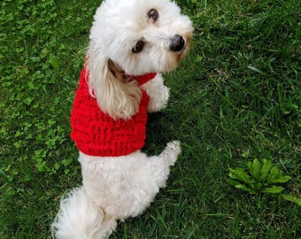 red dog sweater, red dog sweater, dachshund sweaters for dogs, small dog apparel, Yorkie sweater
