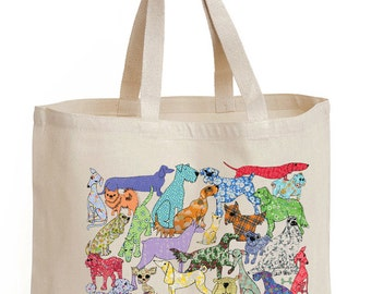 Dog shopper,  tote, shopping bag, strong bag, shoulder bag, school bag, Say no plastic, recyclable bag, cotton canvas bag.