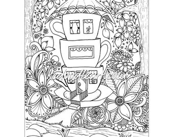 instant digital download - adult coloring page - teacup houses