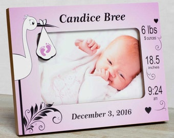 Personalized Baby Picture Frame, Baby Girl Picture Frame, New Baby Girl Frame, Baby Girl Frame, Baby Girl Birth Frame, Stork Baby Frame