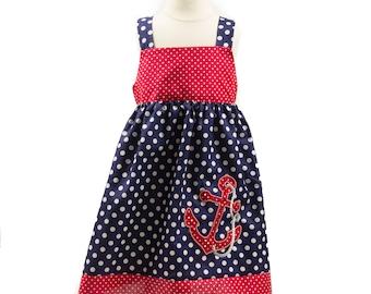 Girl dress in Nautical theme baby dress girls Nautical dress Birthday outfit Toddler dress summer dress cruise dress nautical dress Nautical