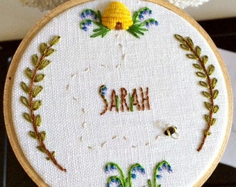 CUSTOM EMBROIDERED ART - Small personalized embroidery hoop wall art with floral theme.