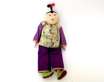 Chinese Cloth Doll / 1950s Stockinette Tourist Doll