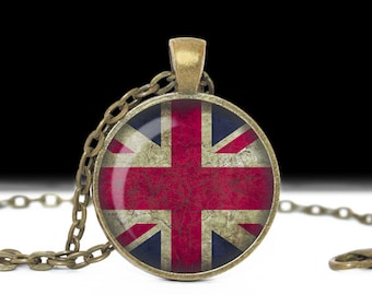 British Flag Necklace, Union Jack, Union Flag, Grunge, Glass Cameo Pendant Cabochon Tile Necklace, Flag Jewelry, Handmade Jewelry