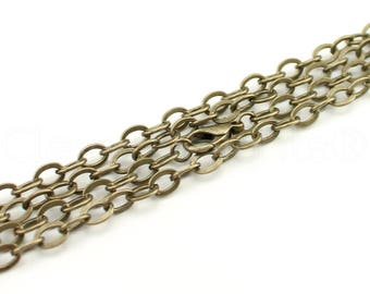"50 Pk - Antique Bronze 5x7mm Rolo Chain Necklaces - 24"" Length - 5mm x 7mm Oval Flat Links - 24 Inch Antique Vintage Style Cable Chains"