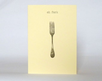 oh fork . funny happy birthday card . vintage fork . cream greeting cards . sorry I forgot . belated birthday greetings