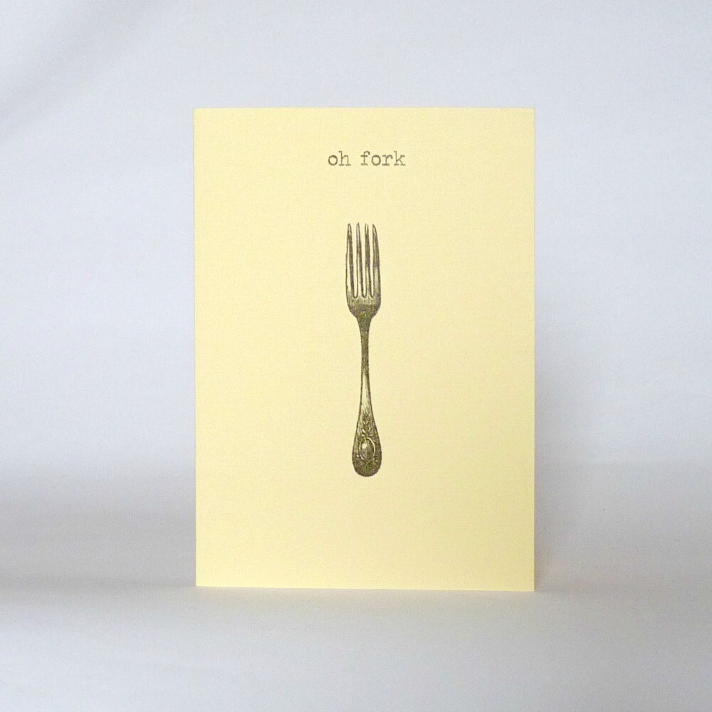 Oh fork funny happy birthday card vintage fork cream zoom kristyandbryce Image collections