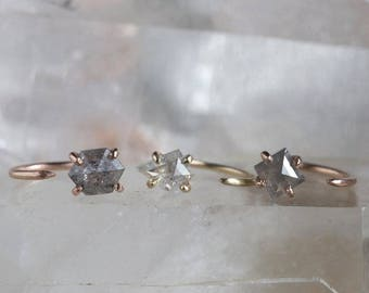 Custom Natural Rose Cut Diamond Huggie Stud