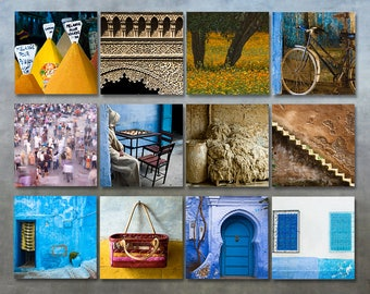 Sale - Set of 12 Morocco travel photo prints set 5x5 wall art photography gallery wall travel art decor 5x5 square prints