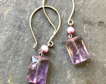 Faceted Ametrine Dangle Earrings  Lavender Gemstone Earrings  Pastel Gemstone earrings  Purple Sterling Silver Earrings