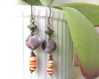 Turquoise spiney oyster earrings, spiny oyster