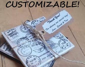 Custom Wedding Favors Custom Coasters Wedding Coasters Personalized Coasters Passport Coasters Travel Coasters Ceramic Coaster Stone Coaster