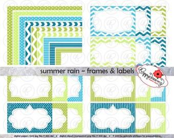 Summer Rain Frames & Labels: Clip Art Pack Card Making Digital Frames Page Borders Chevron Dots Stripes