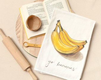 Bananas - Food Pun Flour Sack Towel - Hand Lettered - Watercolor - Kitchen Towel - Gift - Cotton Tea Towel - Fruits & Veggies - Produce
