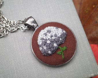 Gray Hydrangea Floral Embroidered Necklace - Embroidery Fiber Art Bohemian Flower Necklace - Silver & Grey Wildflower Pendant Gift For Her
