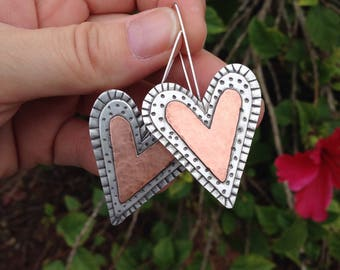 Unqiue heart earring using sterling silver and copper handmade
